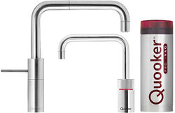 Quooker Nordic Square Twintaps Instant Boiling Tap. COMBI (Brushed Chrome).