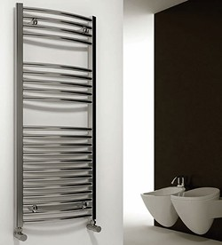 Reina Radiators Diva Curved Towel Radiator (Chrome). 1200x750mm.