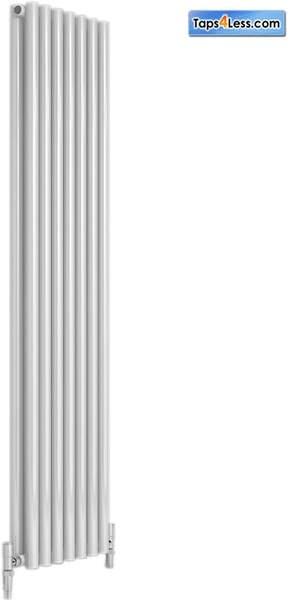 Reina Radiators Round Double Vertical Radiator (White). 413x1800mm.