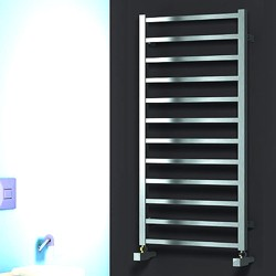 Reina Radiators Arden Towel Radiator (Satin Stainless Steel). 1000x500.