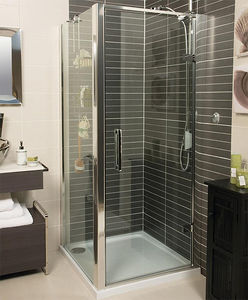 Roman Embrace Shower Enclosure With Hinged Door (1000x1000mm, Silver).