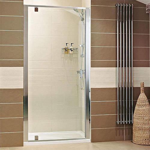 Roman Lumin8 Pivot Shower Door (760mm, Silver Frame).