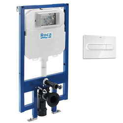 Roca Frames In-Wall DUPLO Compact Tank & PL1 Dual Flush Panel (White).