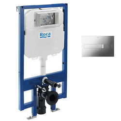Roca Frames In-Wall DUPLO Compact Tank & PL2 Dual Flush Panel (Chrome).