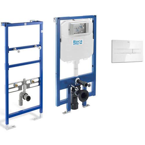 Roca Frames Basin & WC Frame With PL2 Dual Flush Panel (White).