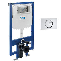 Roca Frames In-Wall DUPLO Compact Tank & PL4 Dual Flush Panel (Chrome).