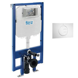Roca Frames In-Wall DUPLO Compact Tank & PL4 Dual Flush Panel (White).