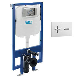 Roca Frames In-Wall DUPLO Compact Tank & PL6 Dual Flush Panel (Chrome).