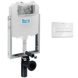 Roca Frames In-Wall WC Compact Tank & PL1 Dual Flush Panel (White).