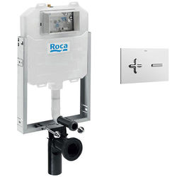 Roca Frames In-Wall WC Compact Tank & PL6 Dual Flush Panel (Chrome).