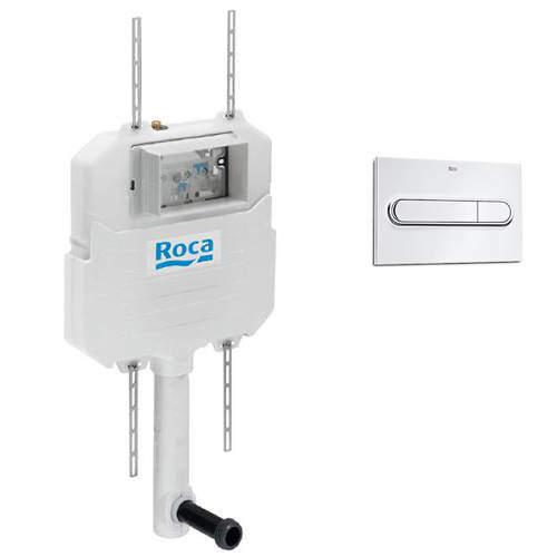 Roca Frames In-Wall Basic Compact Tank & PL1 Dual Flush Panel (Chrome).
