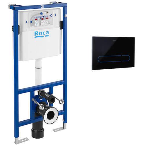 Roca Frames PRO WC Frame, Dual Cistern & EP1 Electronic Panel (Black).