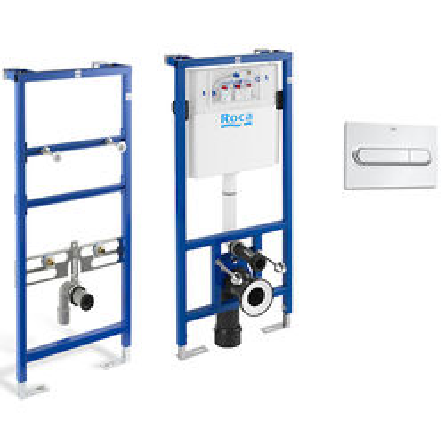 Roca Frames Basin & WC Frame With PL1 Dual Flush Panel (Chrome).