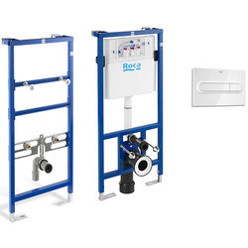 Roca Frames Basin & WC Frame With PL1 Dual Flush Panel (White).