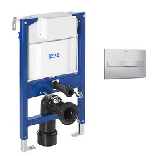 Roca Frames DUPLO LH Wall Hung Frame & PL2 Dual Flush Panel (Grey).