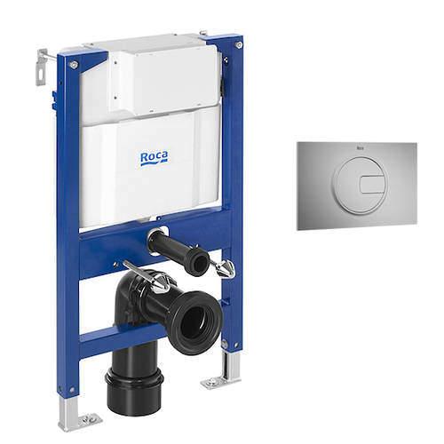 Roca Frames DUPLO LH Wall Hung Frame & PL4 Dual Flush Panel (Grey).