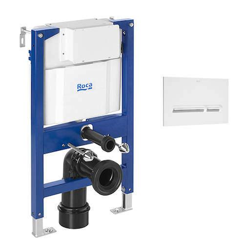 Roca Frames DUPLO LH Wall Hung Frame & PL5 Dual Flush Panel (White).