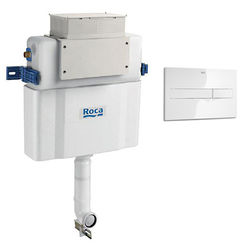Roca Frames Low Height Concealed Cistern & PL2 Dual Flush Panel (White).