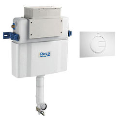 Roca Frames Low Height Concealed Cistern & PL4 Dual Flush Panel (White).