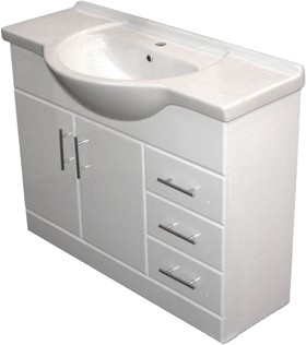 Roma Furniture 1050mm White Vanity Unit, Ceramic Basin, Fully Assembled.