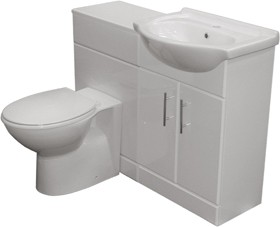 Roma Furniture Complete Vanity Suite In White, Right Handed. 1125x830x300mm.