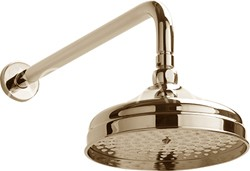 Sagittarius York Traditional Shower Head With Arm (200mm, Gold).