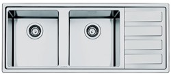 Smeg Sinks Mira 2.0 Double Bowl Sink With Right Hand Drainer (S Steel).