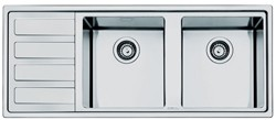 Smeg Sinks Mira 2.0 Double Bowl Sink With Left Hand Drainer (S Steel).