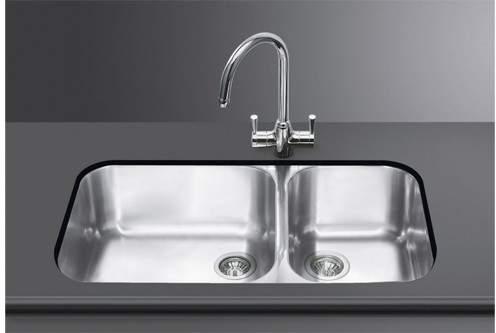 Smeg Sinks 2.0 Bowl Stainless Steel Undermount Kitchen Sink.