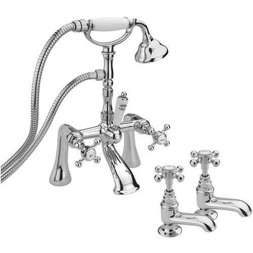 Tre Mercati Allora Basin & Bath Shower Mixer Tap Pack (Chrome).