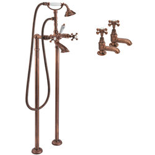 Tre Mercati Allora Basin & Floor Standing Bath Shower Mixer Tap (Copper).