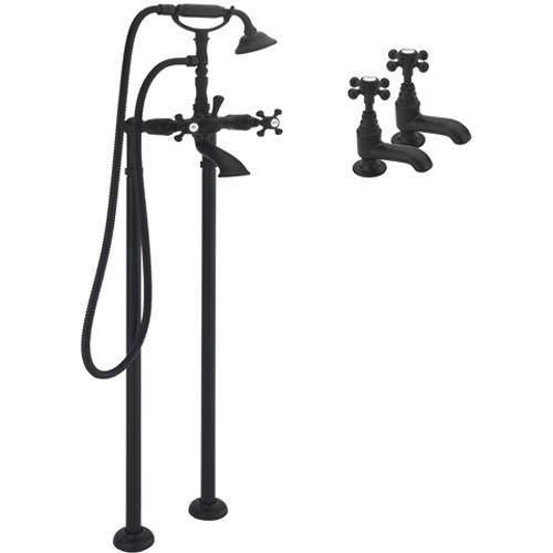 Tre Mercati Allora Basin & Floor Standing Bath Shower Mixer Tap (Matt Black).