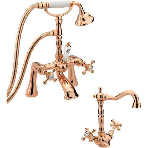 Tre Mercati Allora Basin Mixer & Bath Shower Mixer Tap Pack (Rose Gold).