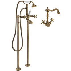 Tre Mercati Allora Basin Mixer & Floor Standing Bath Shower Mixer Tap (Bronze).