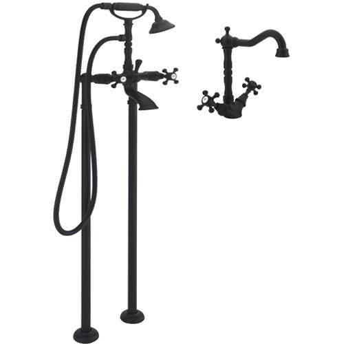 Tre Mercati Allora Basin Mixer & Floor Standing Bath Shower Mixer Tap (M Black).