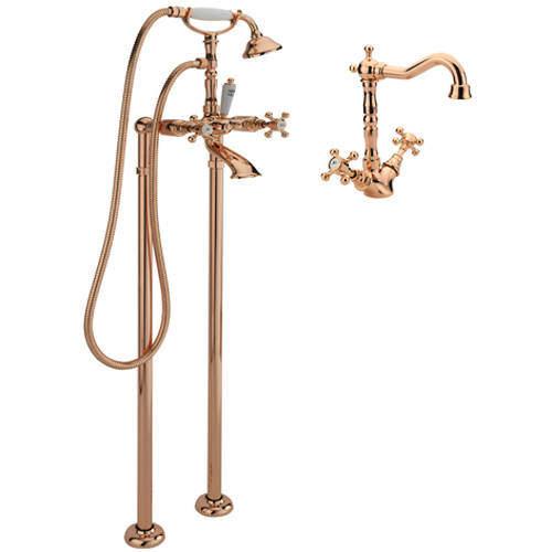 Tre Mercati Allora Basin Mixer & Floor Standing Bath Shower Mixer Tap (R Gold).