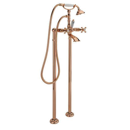Tre Mercati Allora Floor Standing Bath Shower Mixer Tap & Kit (Rose Gold).