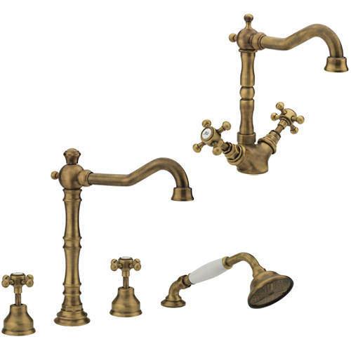 Tre Mercati Allora Basin & 4 Hole Bath Shower Mixer Tap Pack (Bronze).