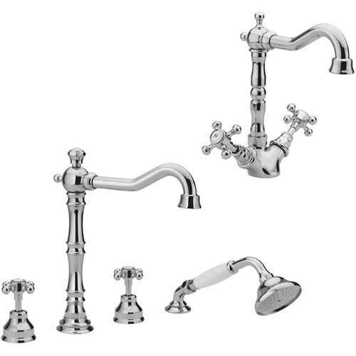 Tre Mercati Allora Basin & 4 Hole Bath Shower Mixer Tap Pack (Chrome).
