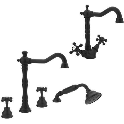 Tre Mercati Allora Basin & 4 Hole Bath Shower Mixer Tap Pack (Matt Black).