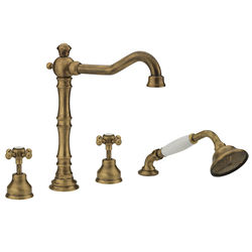 Tre Mercati Allora 4 Hole Bath Shower Mixer Tap & Kit (Bronze).