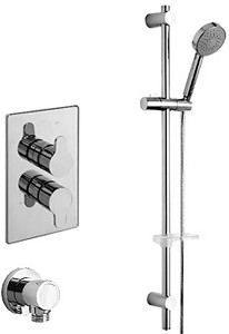 Tre Mercati Lollipop Twin Thermostatic Shower Valve With Slide Rail & Wall Outlet.