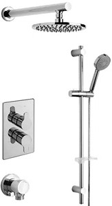 Tre Mercati Lollipop Twin Thermostatic Shower Valve With Slide Rail & Head.