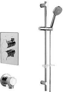Tre Mercati Angle Twin Thermostatic Shower Valve With Slide Rail & Wall Outlet.