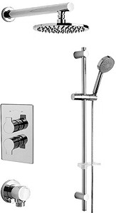 Tre Mercati Angle Twin Thermostatic Shower Valve With Slide Rail & Head.