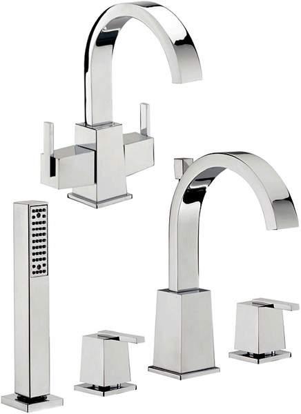 Tre Mercati Mr Darcy Basin Tap & 4 Hole Bath Shower Mixer Tap Set.