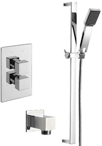 Tre Mercati Edge Twin Thermostatic Shower Valve With Slide Rail & Wall Outlet.