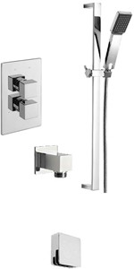 Tre Mercati Edge Twin Thermostatic Shower Valve With Slide Rail & Bath Filler.