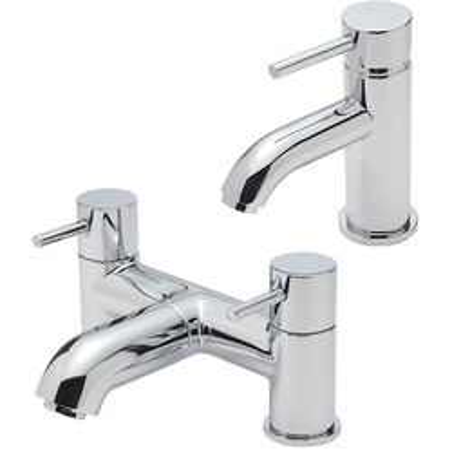 Tre Mercati Milan Mono Basin & Pillar Bath Filler Tap Pack (Chrome).