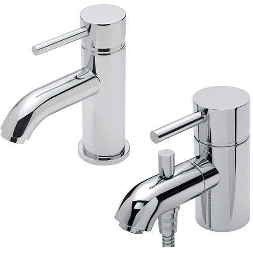 Tre Mercati Milan Mono Basin & Mono Bath Shower Mixer Tap Pack (Chrome).